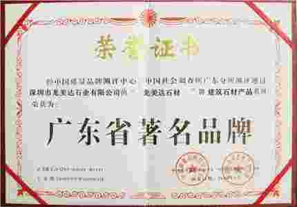 龙美达评为广东省著名品牌